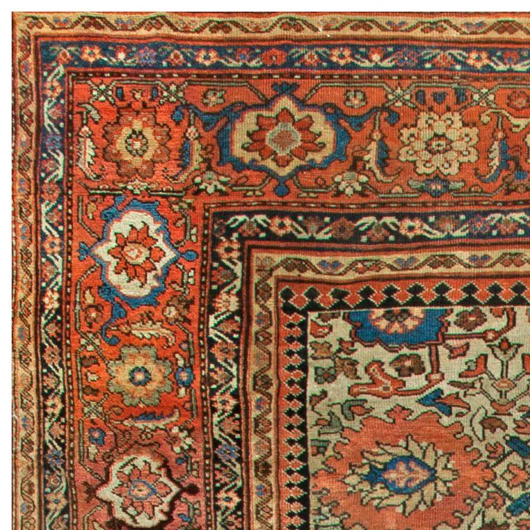 Hand-Knotted Sultanabad Antique Handwoven Wool Rug For Sale