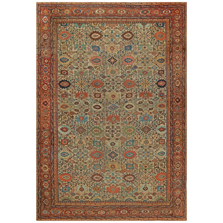 Sultanabad Antique Handwoven Wool Rug For Sale