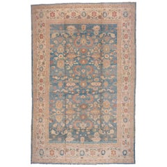 Sultanabad Carpet, Blue Field, Handmade Wool Carpet