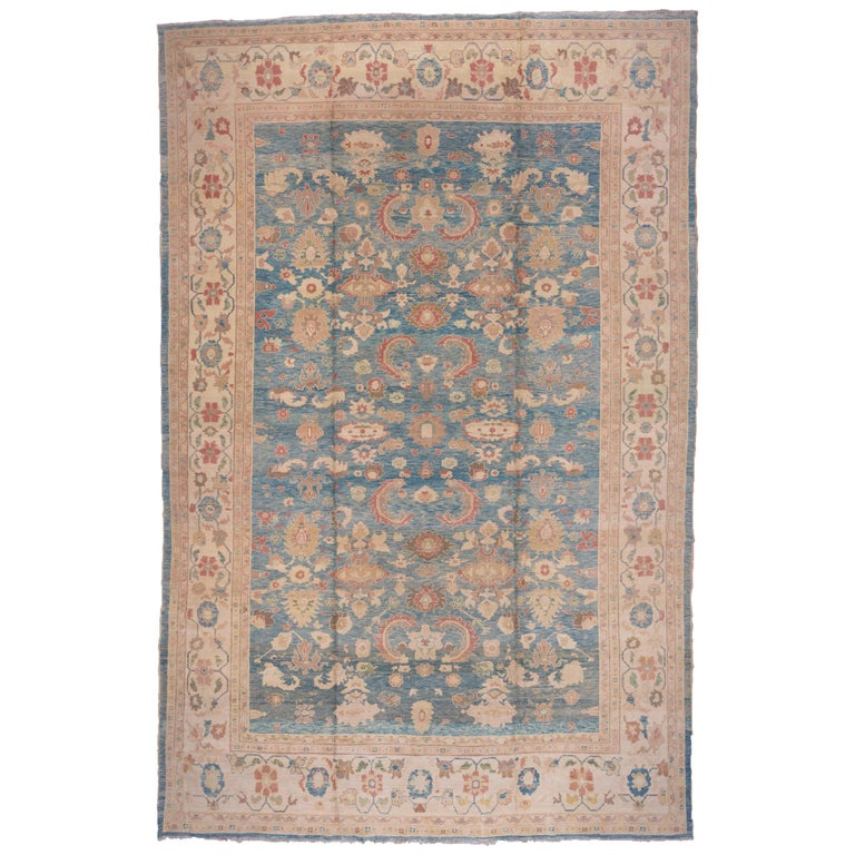 Pasargad Ny Persian Hand Knotted Wool Light Blue Ivory: Sultanabad Carpet, Blue Field, Handmade Wool Carpet For