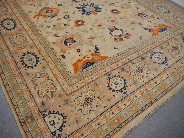 Hand-Knotted 8 x 10 ft Sultanabad Mahal Design Rug Hand Knotted Wool Pile For Sale