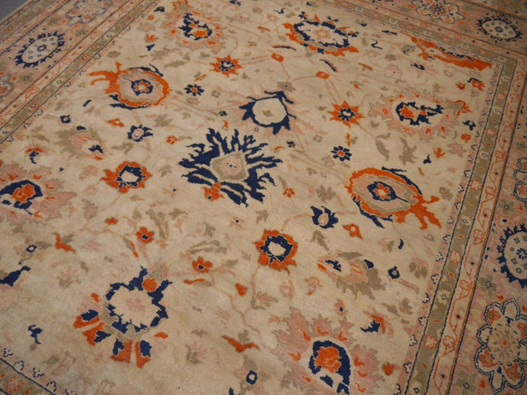 8 x 10 ft Sultanabad Mahal Design Rug Hand Knotted Wool Pile For Sale 1