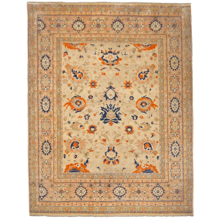 8 x 10 ft Sultanabad Mahal Design Rug Hand Knotted Wool Pile For Sale