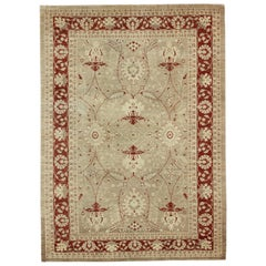 Sultanabad Rug with Stylized Floral Design in Light Camel, Cream and Garnet Red