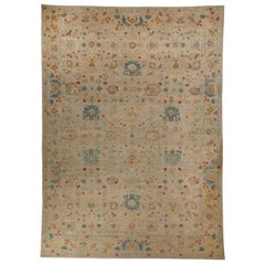 Sultanabad Style Turkish Rug with Beige Field and Multicolored Flower Patterns