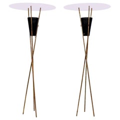Sultry Tripod Torchieres Two Floor Lamps in Brass 1960s Sexy Modern Twist