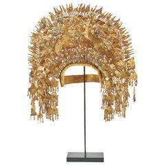 Sumatran Traditional Golden Metal Ceremonial Headdress, circa 1920-1935