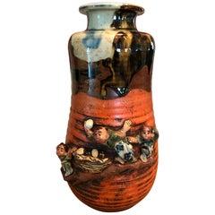 Sumida Gawa Signed Japanese Pottery Ceramic Glazed Vase, Early 1900s