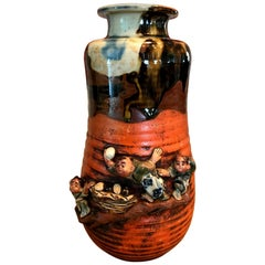 Sumida Gawa Signed Japanese Pottery Ceramic Glazed Vase, Early 1900s