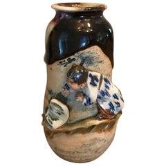 Sumida Gawa Signed Ryosai Japanese Pottery Ceramic Glazed Vase, Early 1900s