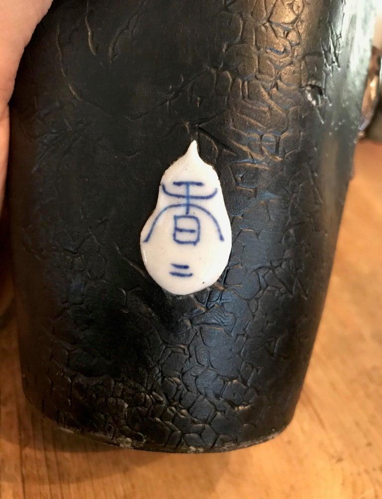 Early 20th Century Sumida Gawa Tall Signed Koko Japanese Pottery Ceramic Glazed Vase, Early 1900s For Sale