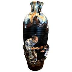 Sumida Gawa Tall Signed Koko Japanese Pottery Ceramic Glazed Vase, Early 1900s