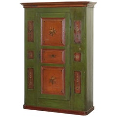 Sumlime Hand Painted Green Austrian circa 1800 Hall Cupboard Wardrobe Floral