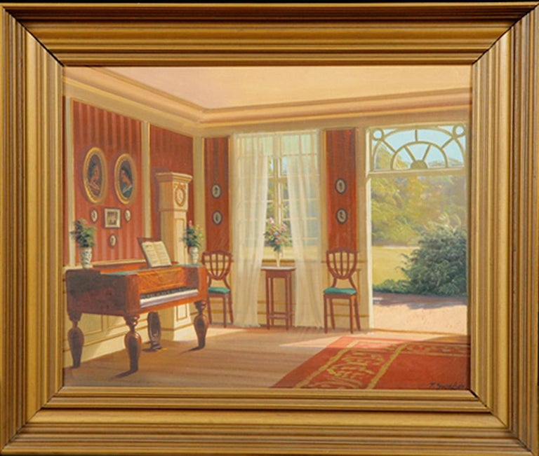 Painting offers an interior scene on a bright summer's day of a period room with furniture and accessories from the late 1700s-early 1800s. Frederik Wilhelm Svendsen (Danish, 1885–1975). Scandinavian manor house interior. Oil on canvas, signed