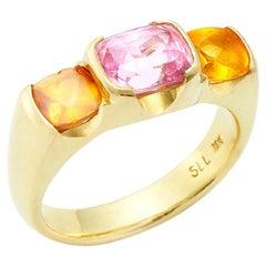 Susan Lister Locke Summer Delight Ring Pink Sapphire with Spessartite Garnets