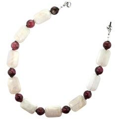Gemjunky Summer Fun in Rose Quartz and Rhodonite Choker Necklace