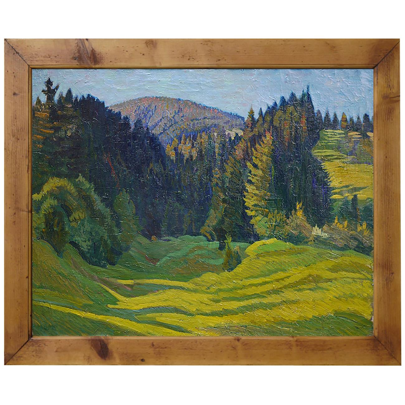 Summer Landscape Oil Painting, Alps, 1920s
