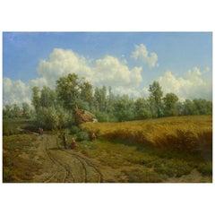 'Summer Landscape' Oil Painting by Jean-Baptiste Kindermans 'Belgian, 1822-1876'