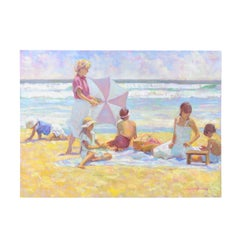 Summer Moment by Don Hatfield, Original Contemporary Beach Scene Oil Painting