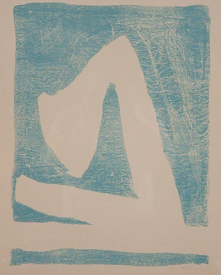 Summertime In Italy 'With Blue' Lithograph by Robert Motherwell In Good Condition For Sale In Stamford, CT