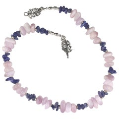 Gemjunky Summertime Unique and Fascinating Kunzite and Tanzanite Necklace