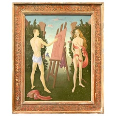 """""""Summoned Reverie,"""" Superb Surrealist Painting with Nudes by Ames, 1939"""
