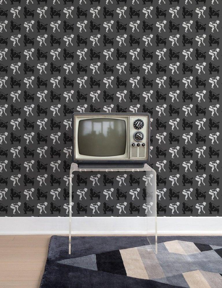 American Sumo Designer Wallpaper in Halftone 'Black, White and Grey' For Sale