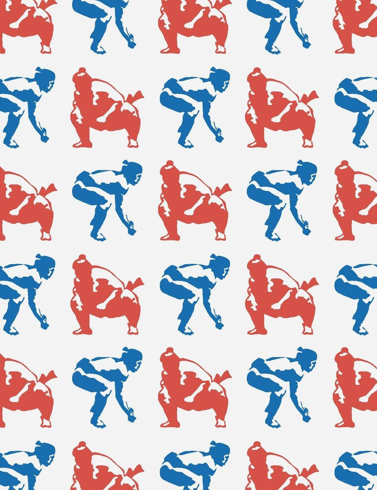 Modern Sumo Designer Wallpaper in Primary 'Red, Cobalt and Pale Grey' For Sale