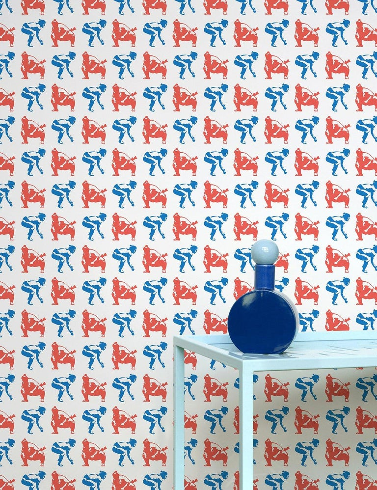 American Sumo Designer Wallpaper in Primary 'Red, Cobalt and Pale Grey' For Sale