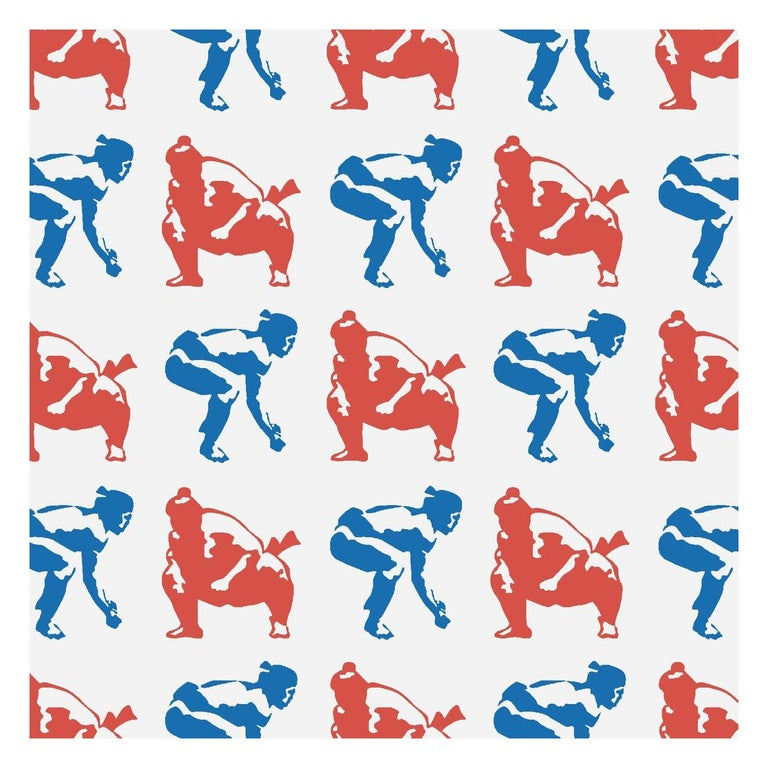 Sumo Designer Wallpaper in Primary 'Red, Cobalt and Pale Grey' For Sale