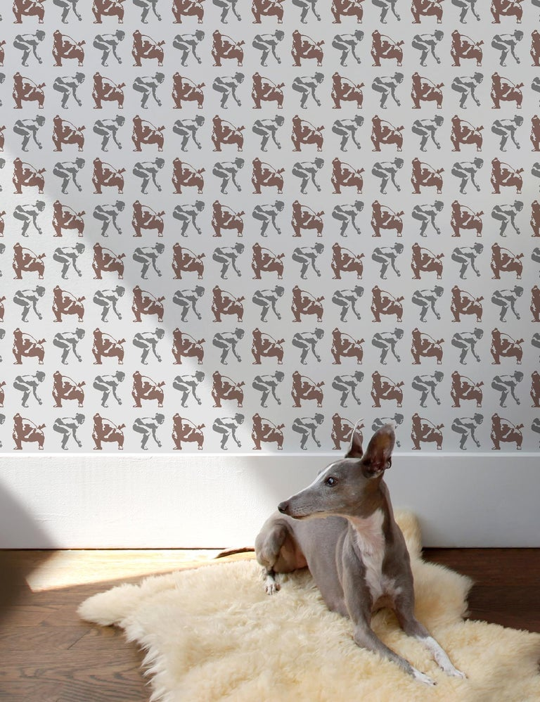 The quintessential sumo wrestling wallpaper pattern…obviously huge in Japan!  **Please note that Sumo has a 2 roll minimum order**  Samples are available for $18 including US shipping, please message us to purchase.    Printing: Screen-printed by