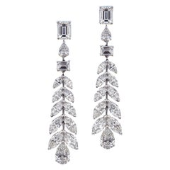 Sumptuous 18 Karat White Gold and Diamond Wedding Earrings