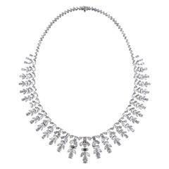 Sumptuous 18 Karat White Gold and Diamond Wedding Necklace