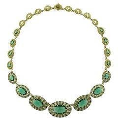 Sumptuous 18 Karat Yellow Gold, Green Quartz and Diamond Necklace