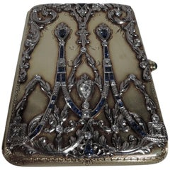 Sumptuous Antique Tiffany 14 Karat Gold Card Case with Sapphires and Diamonds
