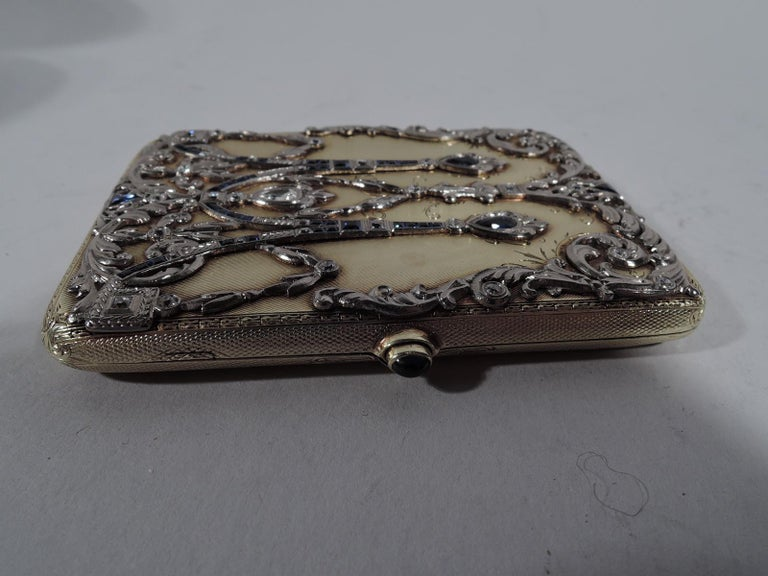 Edwardian Sumptuous Antique Tiffany 14 Karat Gold Card Case with Sapphires and Diamonds