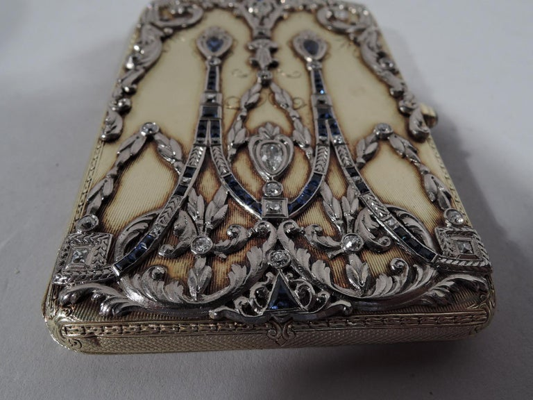 Sumptuous Antique Tiffany 14 Karat Gold Card Case with Sapphires and Diamonds In Excellent Condition In New York, NY