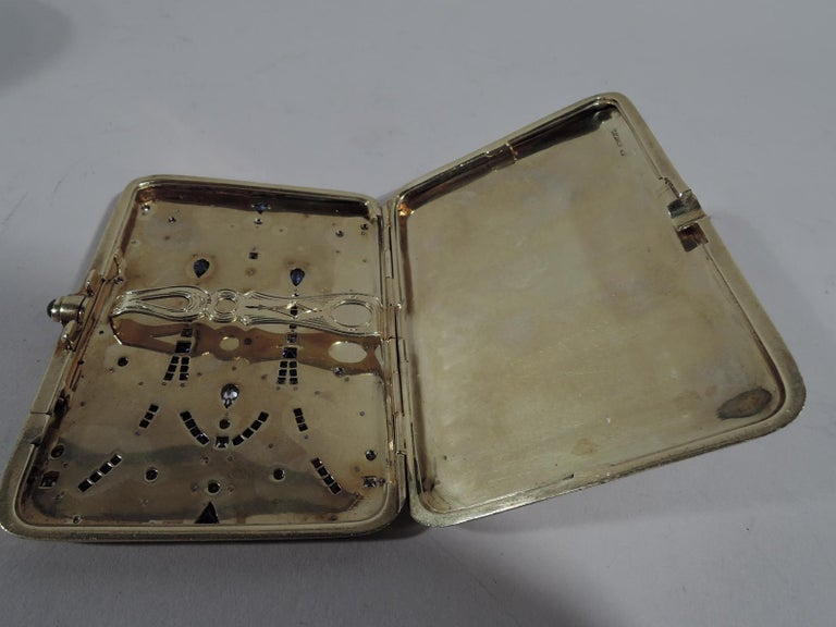 Women's or Men's Sumptuous Antique Tiffany 14 Karat Gold Card Case with Sapphires and Diamonds