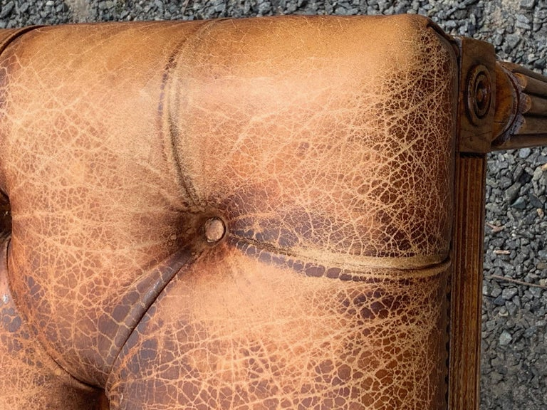 Sumptuous English 19th Century Leather Tufted Ottoman with Studs For Sale 7