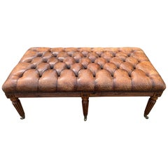 Sumptuous English 19th Century Leather Tufted Ottoman with Studs