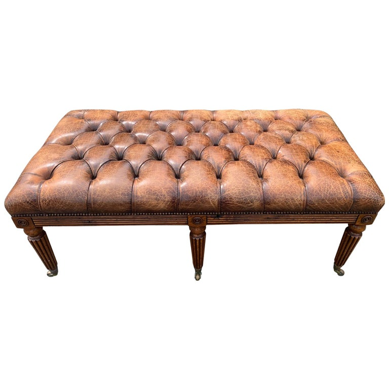 Sumptuous English 19th Century Leather Tufted Ottoman with Studs For Sale