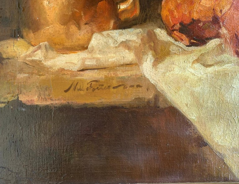 American Sumptuous Large Original William Foster Still Life Painting of a Banquet Table For Sale