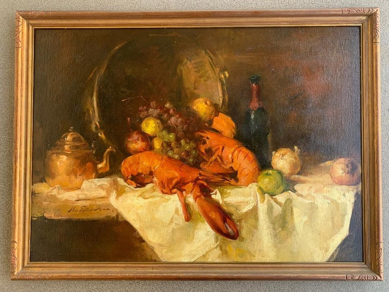 Sumptuous Large Original William Foster Still Life Painting of a Banquet Table In Good Condition For Sale In Tustin, CA