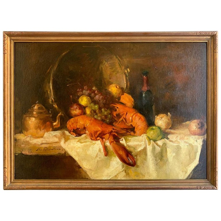 Sumptuous Large Original William Foster Still Life Painting of a Banquet Table For Sale