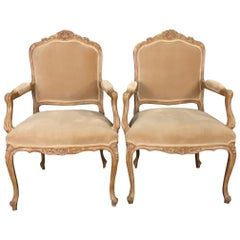 Sumptuous Pair Louis XV Style Carved Bergeres Armchairs with Velvet Upholstery