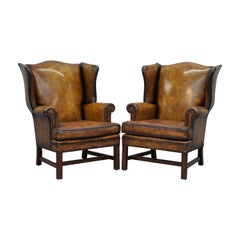 Sumptuous Pair of Fully Restored Hand Dye Cigar Brown Leather Wingback Armchairs