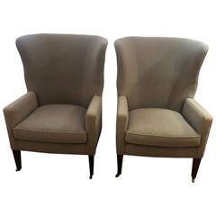 Sumptuous Pair of Grey Flannel Upholstered Barrel Back Wing Chairs