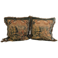 Sumptuous Pair of Late 18th Century Belgian Tapestry Pillows