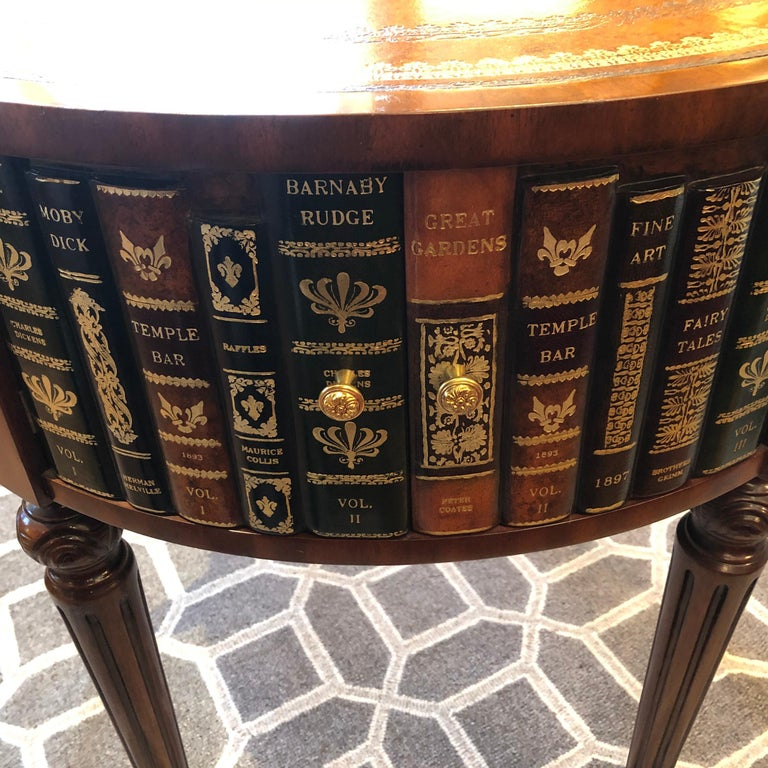 Late 20th Century Sumptuous Round Leather Wrapped Book Motife Center or Side Table For Sale