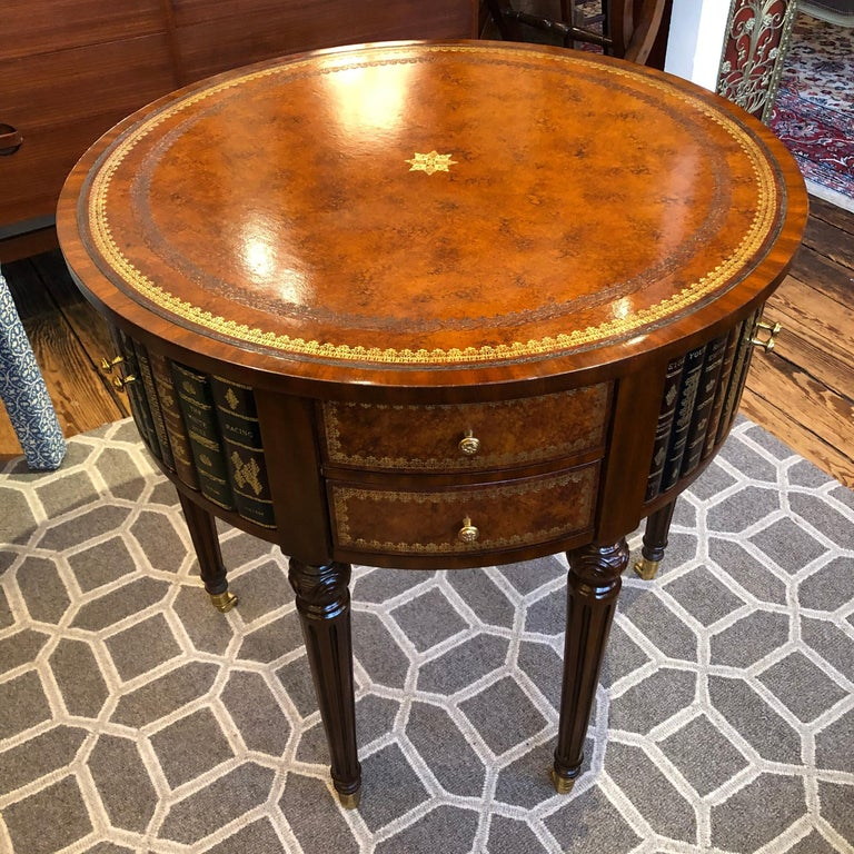 Sumptuous Round Leather Wrapped Book Motife Center or Side Table For Sale 2